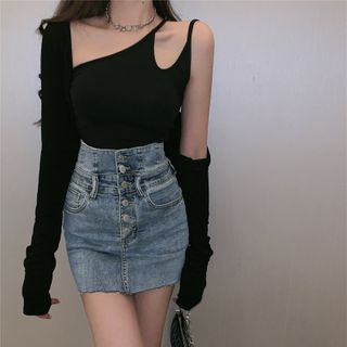 Windflower - One-Shoulder Camisole Top / Cardigan / Mini Pencil Denim Skirt