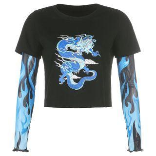 BrickBlack - Mock Two-Piece Dragon Print Mesh Panel Long-Sleeve T-Shirt