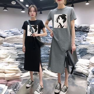Minimince - Short-Sleeve Printed Midi T-Shirt Dress