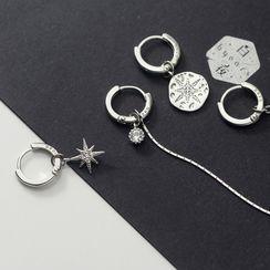 A'ROCH - Asymmetrical 925 Sterling Silver Rhinestone Drop Earring