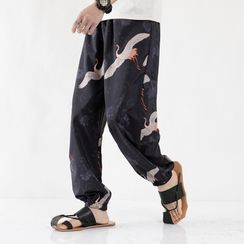 Andrei - Crane Print Harem Pants