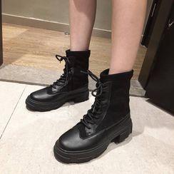 Alisse - Block Heel Lace Up Short Boots