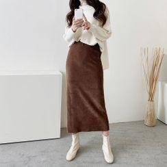 PPGIRL - Band-Waist Corduroy Skirt