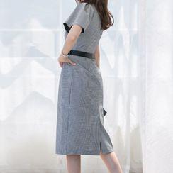 Themis - Short-Sleeve Plaid Midi Shift Dress