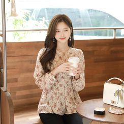 MyFiona - Round-Neck Floral Wrap Blouse