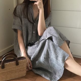 Happo - Short-Sleeve Striped Midi Shirtdress
