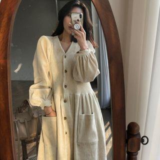 Czarine - V領長袖直身連衣中裙