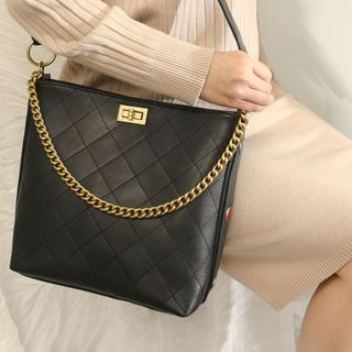 ENSSO - Genuine Leather Quilted Shoulder Bag