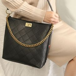 ENSSO - Genuine Leather Quilted Shoulder Bag