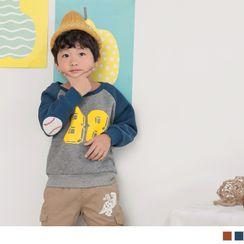 OrangeBear - 配色拼接字母彩印磨毛保暖贴布绣卫衣上衣
