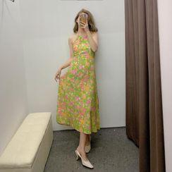 Indesi - Halter-Neck Floral Print Midi A-Line Dress