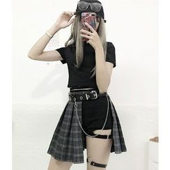 Sisyphi - Short-Sleeve Crop T-Shirt / Cut Out Shorts / Plaid Pleated Skirt / Chain Accent Belt