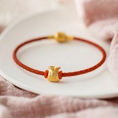 MOMENT OF LOVE - Money Bag Stainless Steel Red String Bracelet
