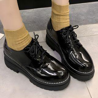 TINKI - 仿皮厚底繫帶鞋