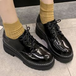 TINKI(ティンキ) - Faux Leather Platform Lace-Up Shoes