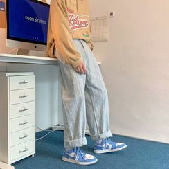 Naideth - Striped Wide Leg Jeans