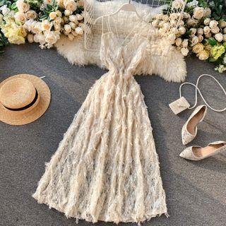 Lucuna - Strappy Lace Midi A-Line Dress