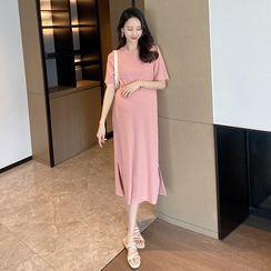 Parlour A - Maternity Slit Midi T-Shirt Dress