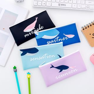 School Time - Whale Print PVC Pencil Case