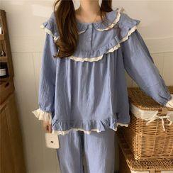 ANORA - Pajama Set: Ruffle Long-Sleeve T-Shirt + Harem Pants