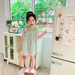Ohori - 小童無袖刺繡網紗連衣裙