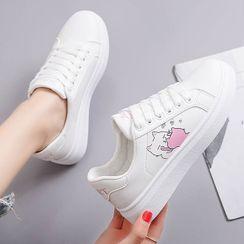 Ordinate Shoes - 貓印花繫帶休閒鞋