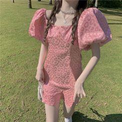 Caroma - 泡泡袖豹纹印花迷你塑身连衣裙