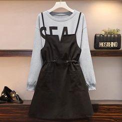 Sugar Town - Mock Two-Piece Long-Sleeve A-Line Dress