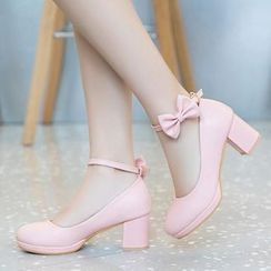 Freesia - Bow Accent Ankle Strap Chunky-Heel Pumps