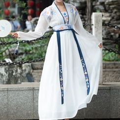 Tangier - Long-Sleeve Embroidered Traditional Chinese Costume / Set
