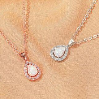 Mulyork - Rhinestone Drop Pendant Necklace