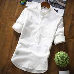 YIKES - Elbow-Sleeve Plain Shirt