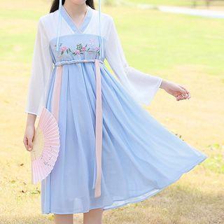 YICON - Long-Sleeve Midi Hanfu Dress