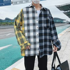 Obikan - Plaid Color-Block Long-Sleeve Shirt