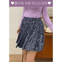 chuu - Ruffled Blossom Miniskirt