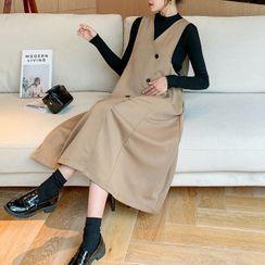 Empressa - Maternity Set: Long-Sleeve Top + Midi A-Line Pinafore Dress
