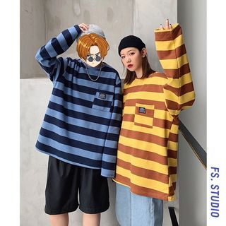 CooLook - Couple Matching Striped Polo Sweatshirt