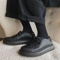 VEAZ - Faux Leather Lace-Up Platform Shoes