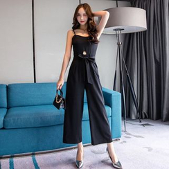 FancyMe - Spaghetti-Strap Jumpsuit with Sash