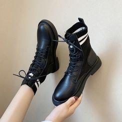 Aneka - Knit Panel Lace-Up Short Boots