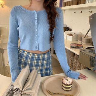 Alfie - 纯色长袖短款薄开衫 / 格子半身裙