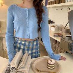 Alfie - Plain Long-Sleeve Cropped Light Cardigan / Plaid Skirt