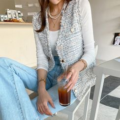 DABAGIRL - Decorative-Button Tweed Vest