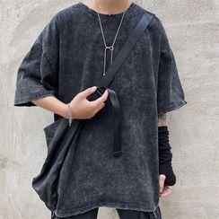 Porstina - 做舊短袖圓領上衣