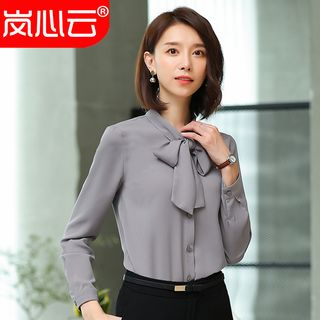 Skyheart - Bow Accent Long-Sleeve Button Blouse / Dress Pants / Mini Pencil Skirt