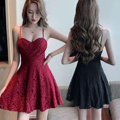 Tidel - Strappy A-line Lace Dress
