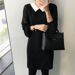 Tangihouse - Color-Block Lace Long-Sleeve Dress
