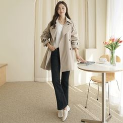 CLICK - Double-Breasted Trench Coat with Belt