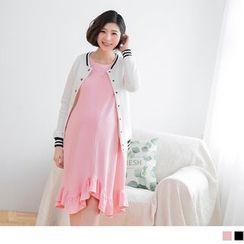 OrangeBear - Maternity Asymmetric Ruffled Hem Dress