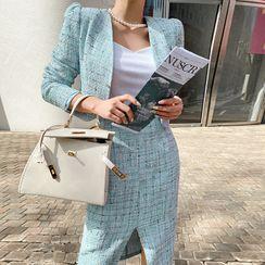 DABAGIRL - Office Look Tweed Jacket & Skirt Set